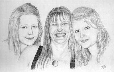 Commission - Michelle And Her Daughters Art Print by Conor OBrien