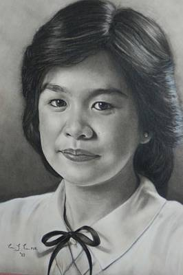 Graduation Gift Drawing - Commission Charcoal Pencil  Portrait by Efcruz Arts