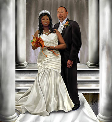 Bride And Groom Painting - Commissioned Wedding Portrait  by Reggie Duffie