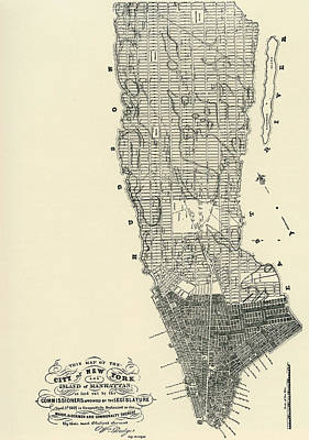 Landscape Drawing - Commissioners' Map Of Manhattan, 1811 by American School