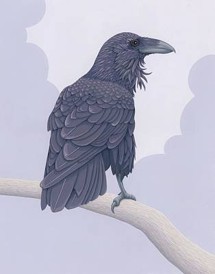 Storm Clouds Painting - Common Raven by Nathan Marcy