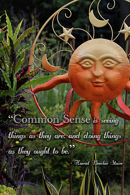 Photograph - Common Sense Inspirational Quote by Ron Grafe