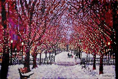 Comm Ave Painting - Commonwealth Avenue, Christmas by Sean Moore