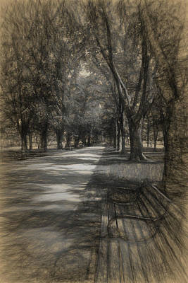 Drawing - Commonwealth Avenue by Thomas Logan