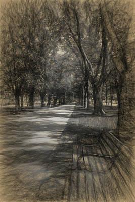 Drawing - Commonwealth Avenue by Thomas Logan