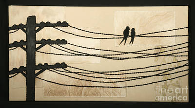 Telephone Poles Mixed Media - Communication Tapestry by Carolyn Powers