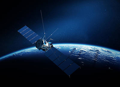 Aerial Digital Art - Communications Satellite Orbiting Earth by Johan Swanepoel