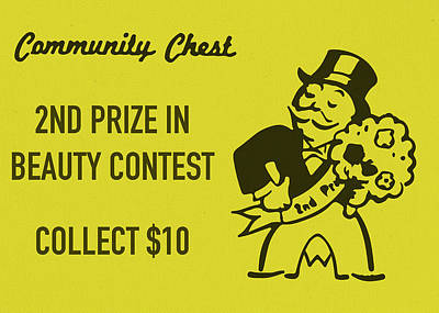 Monopoly Mixed Media - Community Chest Vintage Monopoly Board Game 2nd Prize In Beauty Contest by Design Turnpike