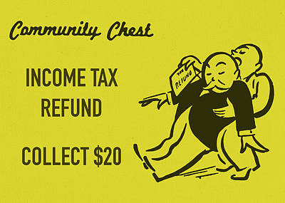 Monopoly Mixed Media - Community Chest Vintage Monopoly Board Game Income Tax Refund by Design Turnpike