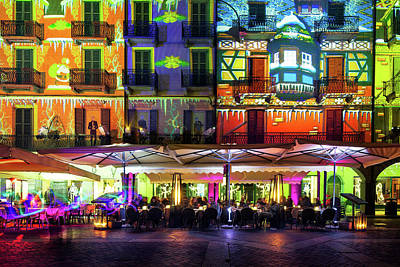 Photograph - Como Illuminated In Christmas Time With Artistic Lights, Lombard by Alfio Finocchiaro