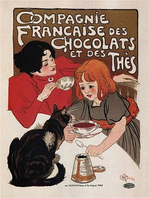 Mixed Media - Compagnie Francaise Des Chocolats Et Des Thes - Vintage Chocolate And Tea Advertising Poster by Studio Grafiikka