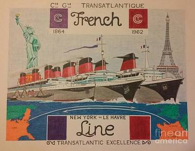 Maritime Mixed Media - Compagnie Generale Transatlantique  by Russell Parmerter