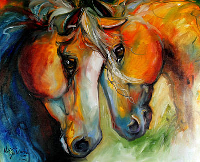Abstract Equine Art Painting - Companions Equine Art by Marcia Baldwin