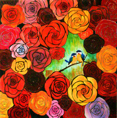 Lovebird Mixed Media - Companionship No.1 - Roses by Carl Jeremy Lum