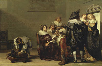 Painting - Company Making Music by Pieter Codde