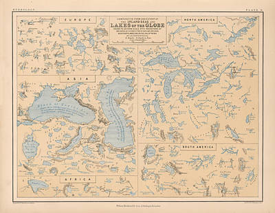 Beach Drawings - Comparative Map of the Inland Seas and Lakes of the Globe - Historical Map by Studio Grafiikka