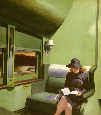 Reading Painting - Compartment C by Edward Hopper