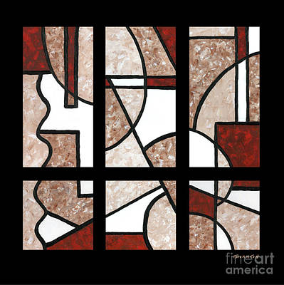 Compartments Six Panels Art Print by Diane Thornton