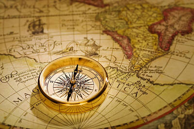 Photograph - Compass And Antique Map by Douglas Pulsipher