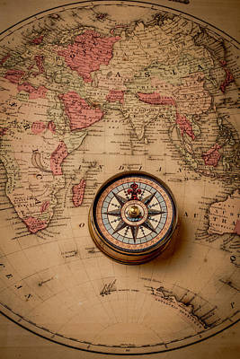Antique Map Photograph - Compass And Europe by Garry Gay