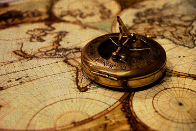 Compass On Vintage Old Map Of The World Art Print