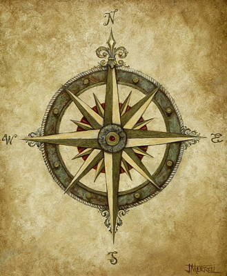 Compass Rose Art Print by Judy Merrell