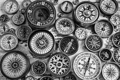 Photograph - Compasses Black And White by Garry Gay