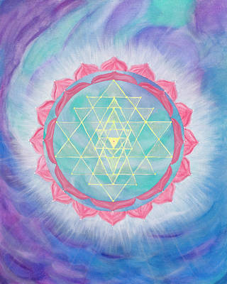 Sri Yantra Painting - Compassionate Action by Silvia Flores