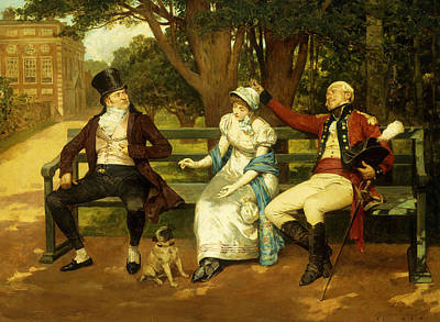 Silk Painting - Competing For Attention by Henry Gillard Glindoni