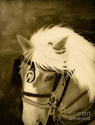 Painting - Amos - Sepia - Ohio Horsepulling by Jan Dappen
