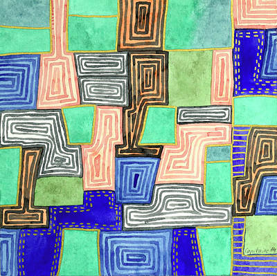 Compostion Painting - Complex Pattern With Golden Lines by Heidi Capitaine