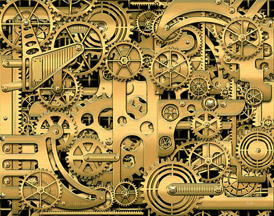 Pop Art Photograph - Complexity And Complications - Clockwork Gold by Serge Averbukh