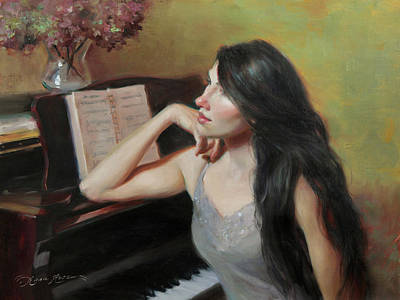 Pianist Painting - Composing Thoughts by Anna Rose Bain