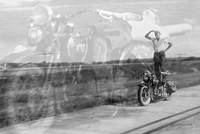 Composite Of 2 Old Harley Davidson Photographs Art Print