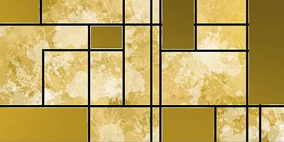 Golden Digital Art - Composition 3 by Alberto RuiZ