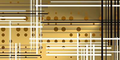 Golden Digital Art - Composition 4 by Alberto RuiZ