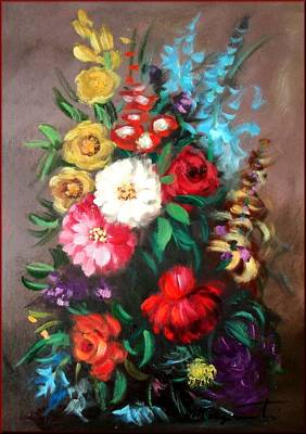 A Summer Evening Landscape Painting - Composition Of Flowers by Fabio Morganti