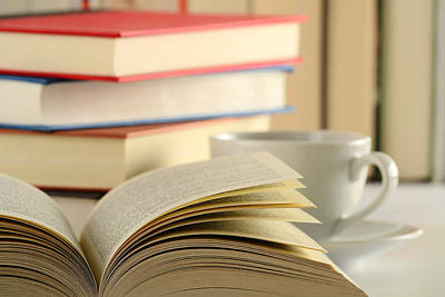 Book Photograph - Composition With Books And Cup Of Coffee On The Table by T Monticello