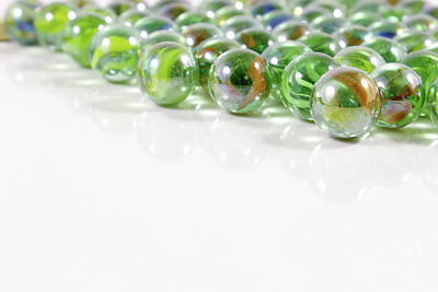 Marbles Photograph - Composition With Green Marbles On White Background by Daniel Ghioldi