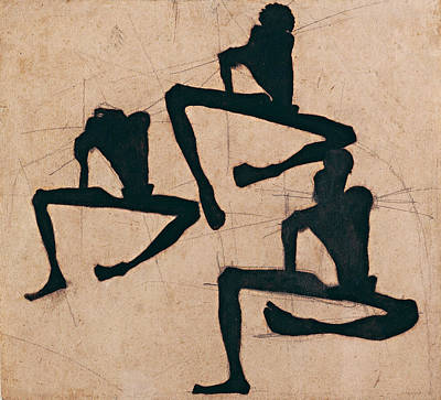 Top With Oil Painting - Composition With Three Male Nudes 1910 by Egon Schiele