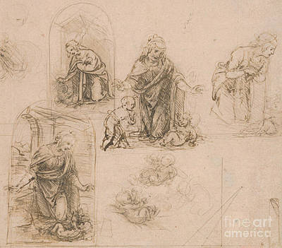 Religion Drawings Drawing - Compositional Sketches For The Virgin Adoring The Christ Child by Leonardo Da Vinci