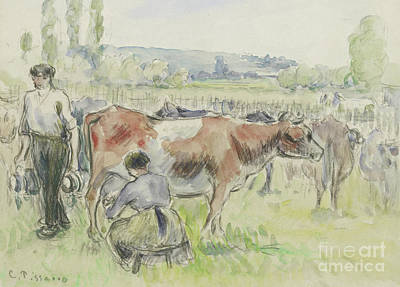 French Cow Painting - Compositional Study Of A Milking Scene  by Camille Pissarro