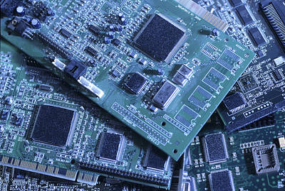 Processor Photograph - Computer Boards And Chips Lie In A Pile by Taylor S. Kennedy