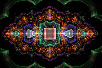 Multicolored Digital Art - Computer Generated Orange 3d Abstract Fractal Flame Modern Art by Keith Webber Jr