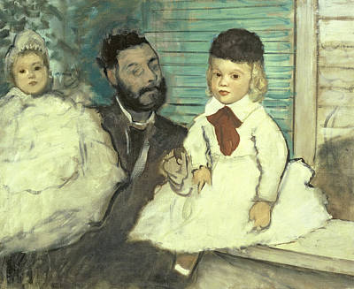 Pastel - Comte Le Pic And His Sons by Edgar Degas