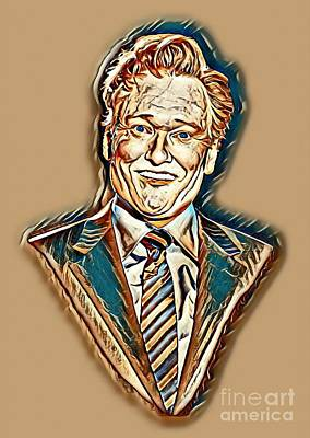 Letterman Painting - Conan O'brien Abstract Portrait by Pd