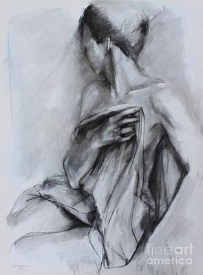 Nude Figure Drawing - Concealed by Kristina Laurendi Havens