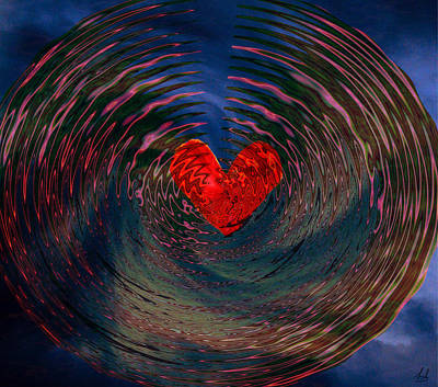 Print featuring the digital art Concentric Love by Linda Sannuti