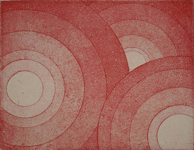 35mm Drawing - Concentric Red by Erik Paul