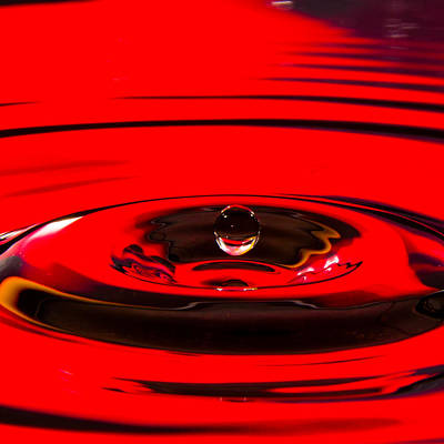 Photograph - Concentric Red Water Drop by SR Green